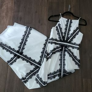 Aidan Mattox Black & White Lace Gown Size 4